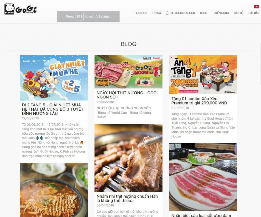 content marketing cho ngành nhà hàng
