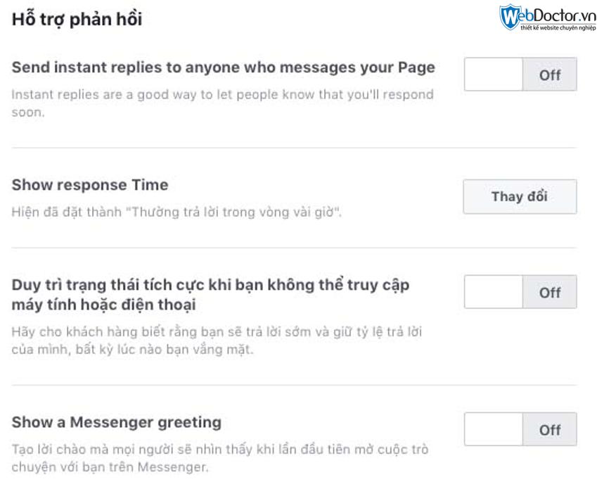 cài đặt messenger cho fanpage